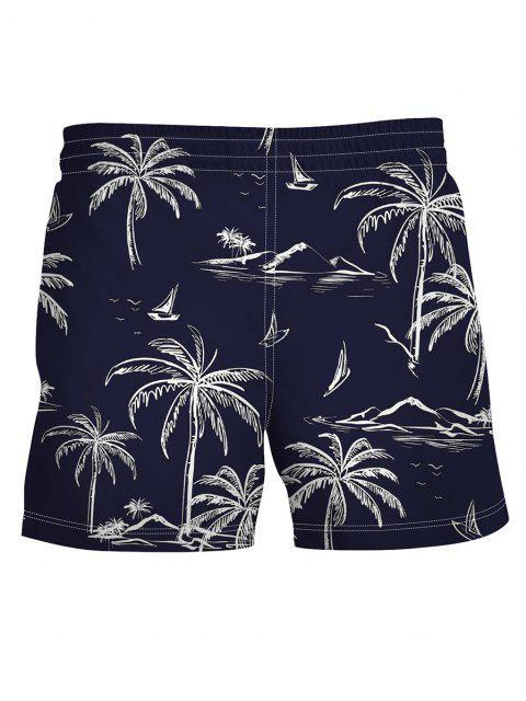 women's Palm Tree Print Board Shorts - MIDNIGHT BLUE M Mobile