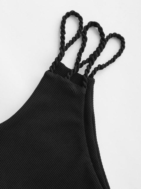 women ZAFUL Ribbed Braided Strap Ladder Cut Bikini Bottom - BLACK S Mobile