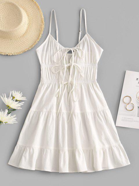 ZAFUL Gebundenes Cami Mini Abgestufte Kleid - Weiß S Mobile