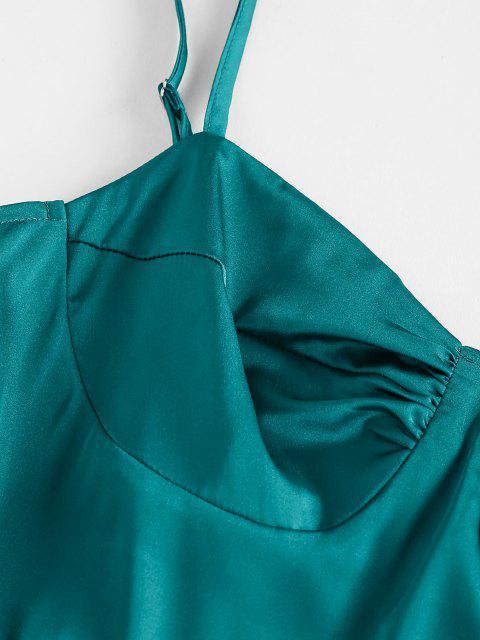 women's ZAFUL Satin Cupped Mini Dress - GREEN M Mobile