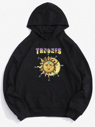 Thrones Celestial Sun And Moon Graphic Hoodie - Black M