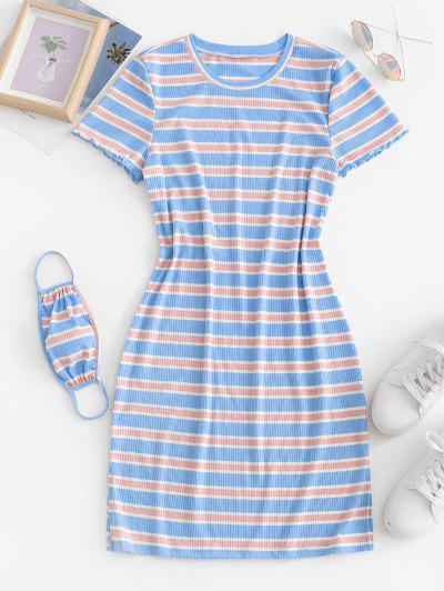 Ribbed Striped Bodycon Dress With Face Mask - Light Blue M