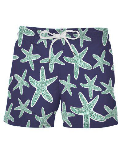 Starfish Print Board Shorts - Deep Blue L