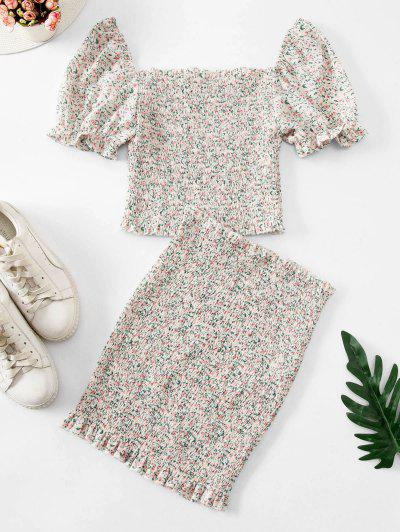 Ditsy Floral Smocked Frilled Two Piece Dress - Light Yellow L