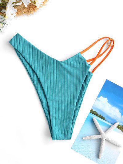 ZAFUL Ribbed Contrast Strap O Ring Bikini Bottom - Green M