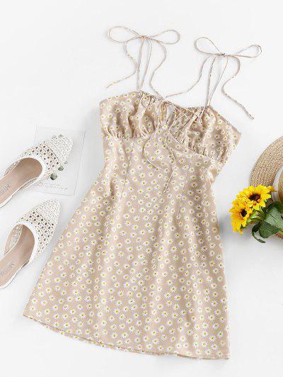 ZAFUL Daisy Print Tie Shoulder Backless Mini Dress - Light Coffee S