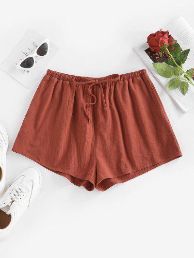 ZAFUL Bowknot Pocket Wide Leg Shorts - Deep Coffee L
