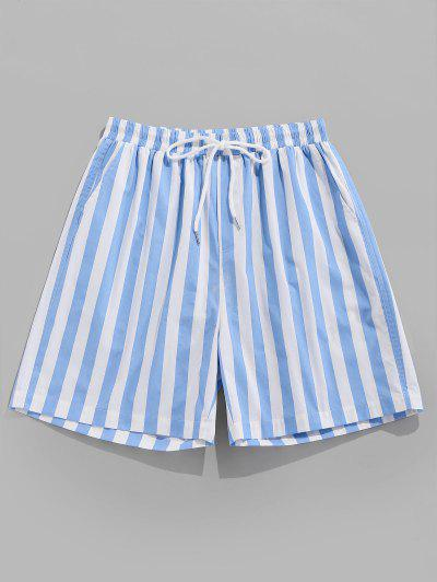 ZAFUL Striped Print Beach Shorts - Light Blue M