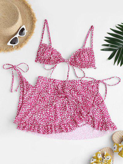 ZAFUL Ditsy Print Ruffle Bowknot Three Piece Bikini Swimwear - Light Pink M