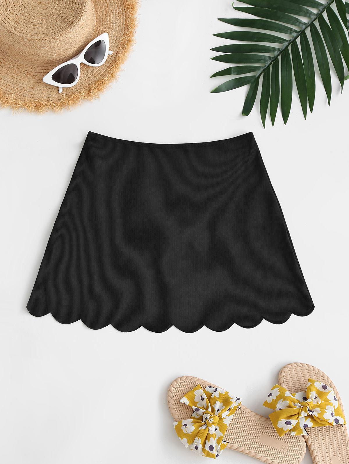 ZAFUL Ribbed Scalloped Mini Beach Skirt