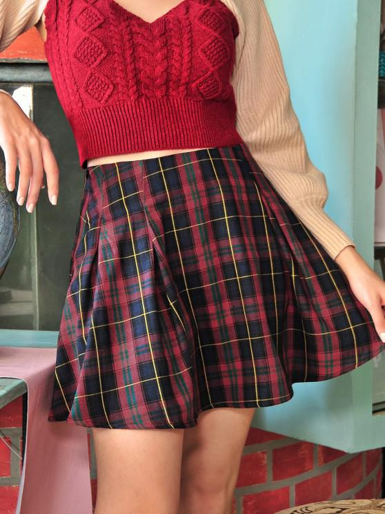 outfits ZAFUL High Waist Plaid Pleated Mini Skirt - RED WINE XL