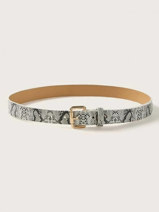 Snakeskin Pattern Buckle Belt - أسود