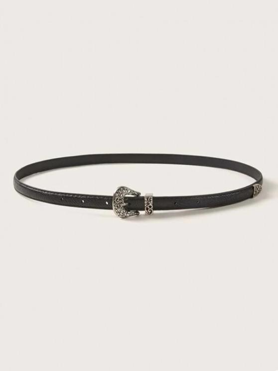 lady Retro Hollow Out Buckle Belt - BLACK