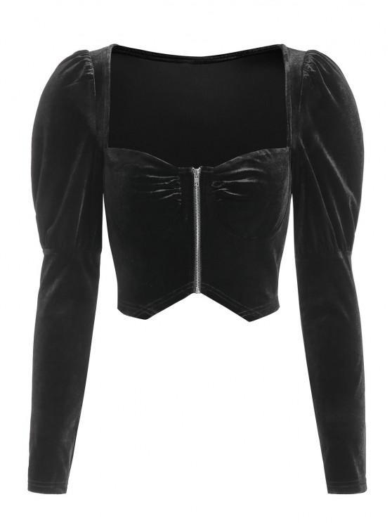 hot ZAFUL Zip Up Velvet Gigot Sleeve Cropped Blouse - BLACK L