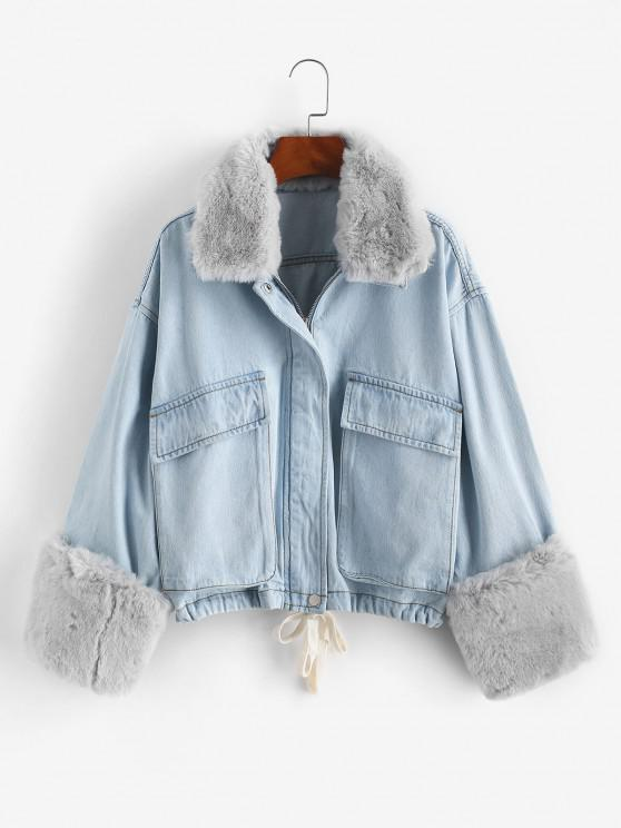 Removable Faux Fur Panel Pocket Drawstring Jean Jacket - أزرق فاتح S