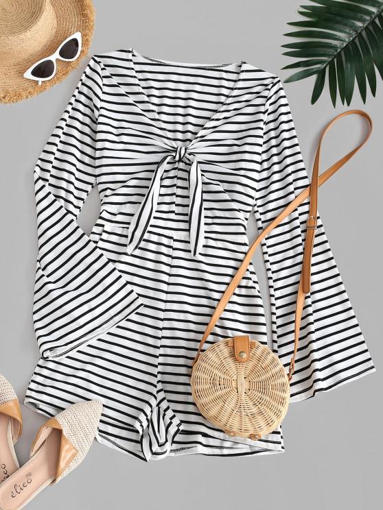 ladies Stripes Flare Sleeve Tie Front Romper - WHITE S