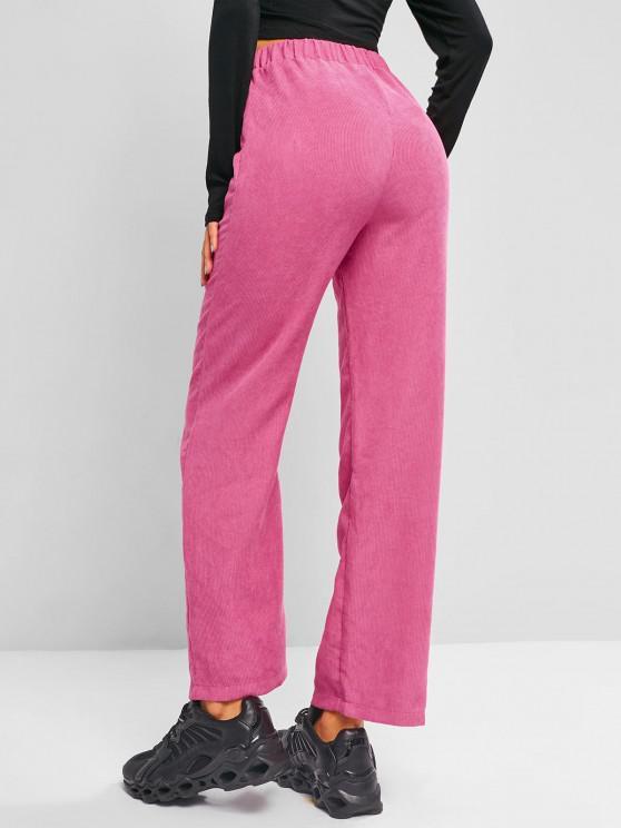 High Waisted Corduroy Straight Pants - زهري غامق S
