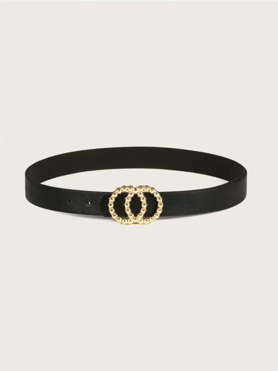 hot Double Circle Irregular Buckle Belt - BLACK