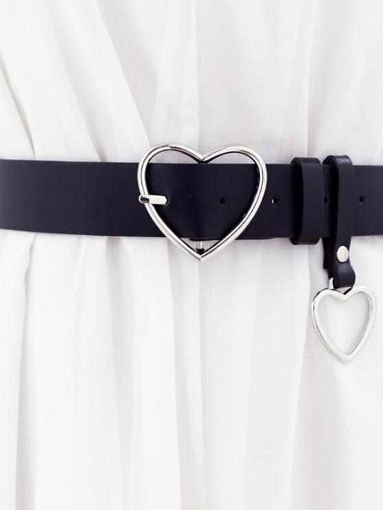 trendy Heart Shaped Pin Buckle Belt - BLACK