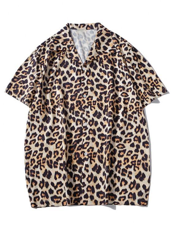 Camisa de Manga Curta de Impressão de Animal de Leopardo - Caqui Escuro M