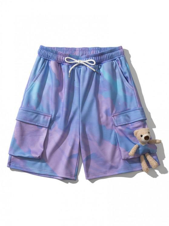women Tie Dye Print Side Pocket Sweatshorts With Bear Toy - BLUE IVY M