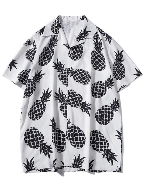 women Pineapple Print Vacation Shirt - WHITE L