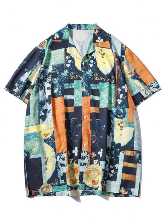 fashion Floral Mixed Print Short Sleeve Shirt - DENIM DARK BLUE L