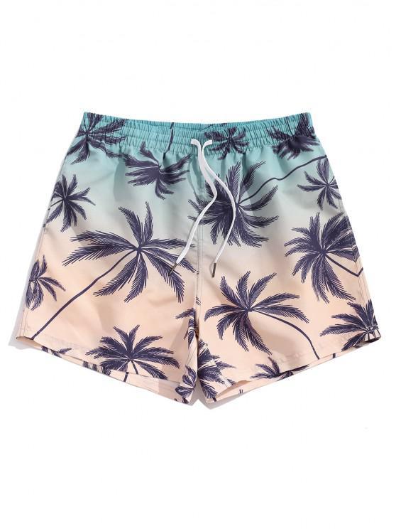 Pantaloncini di Ombre con Stampa Alberi di Palma - Blu Leggero L
