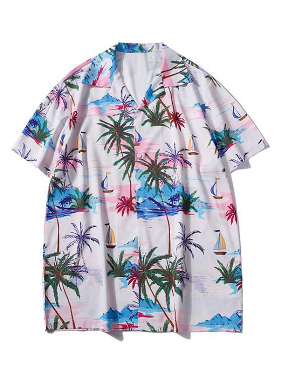 Palm Tree Hawaii Vacation Shirt - ساكورا بينك M
