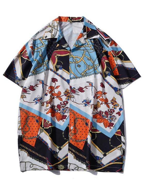 women Floral Chain Patchwork Baroque Shirt - COBALT BLUE L