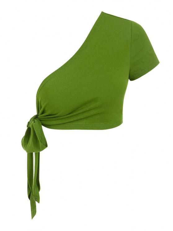 chic ZAFUL One Shoulder Tie Knot Cropped Tee - GREEN L