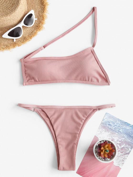 ZAFUL One Shoulder Ribbed Tanga Bikini Swimwear - وردي فاتح S