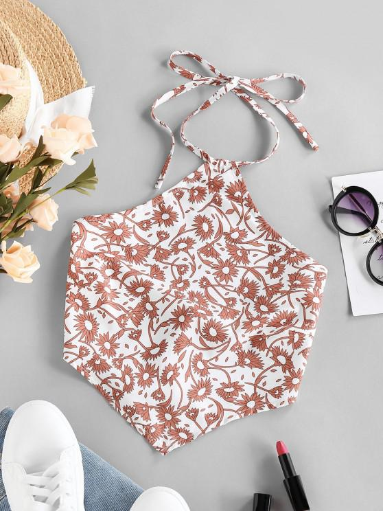 affordable ZAFUL Halter Floral Print Back Tie Scarf Top - WHITE S