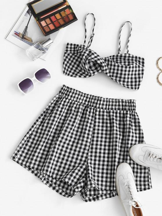 outfits ZAFUL Plaid Twisted Cami Two Piece Shorts Set - BLACK S