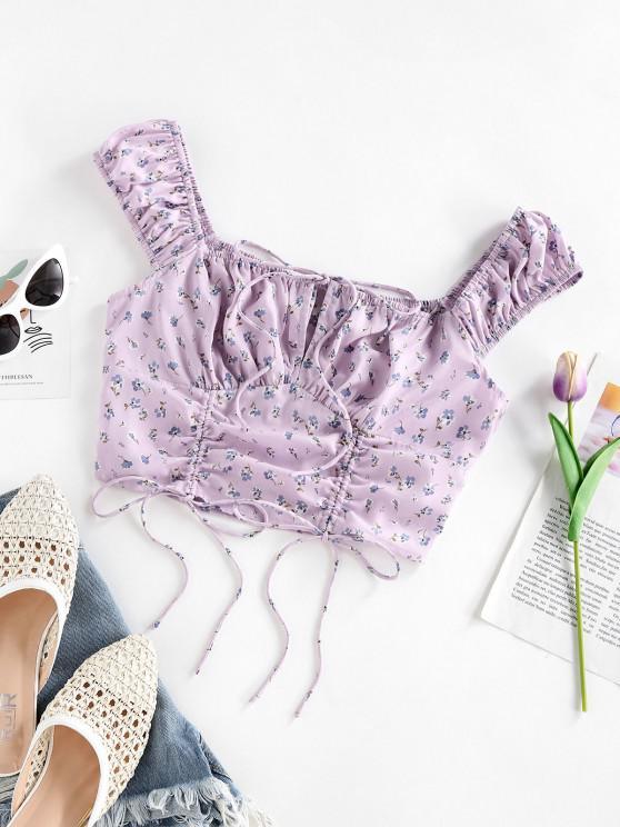 shop ZAFUL Flower Cinched Tie Crop Blouse - LIGHT PURPLE L