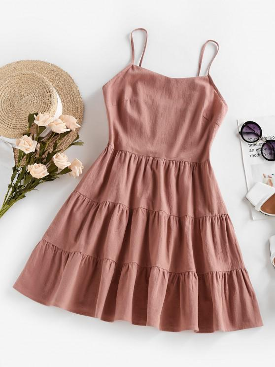 lady ZAFUL Tiered Smocked Flounce Cami Dress - LIGHT PINK S