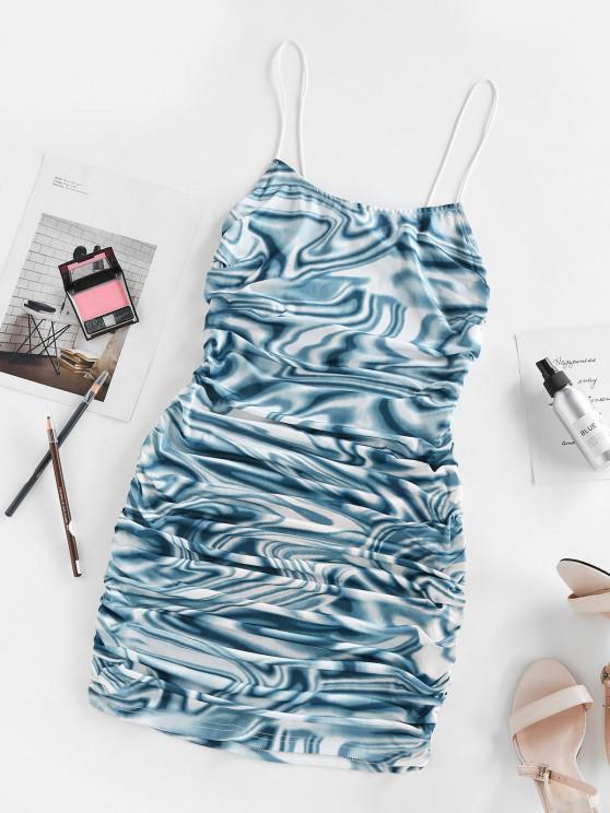 womens ZAFUL Cut Out Back Twist Liquid Marble Print Dress - BLUE S