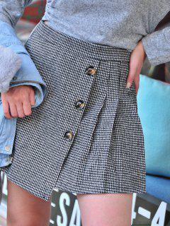 Houndstooth Pleated Overlap Buttoned Skirt - Black L