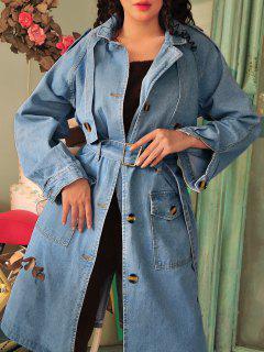 Longline Belted Pockets Denim Trench Coat - Denim Blue Xl