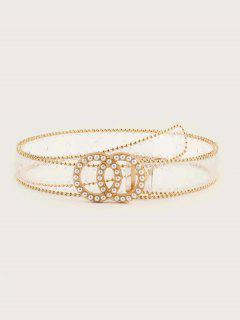 Faux Pearl Circles Buckle Transparent Belt - Transparent