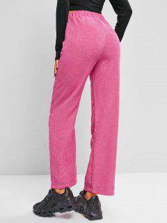 Pantaloni Di Velluto A Coste A Vita Alta - Rosa Scura M