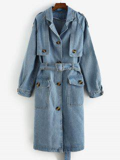Longline Belted Pockets Denim Trench Coat - Denim Blue L