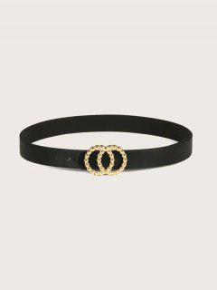 Double Circle Irregular Buckle Belt - Black