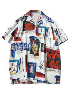 Camisa De Pintura Impressa Decorativa De Mangas Compridas Com Padrão Gráfico - Lava Vermelha L