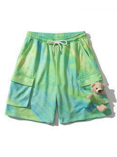 Pantaloncini Con Coulisse E Stampa Tinta A Nodi Laterali - Giallo Verde L