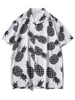 Pineapple Print Vacation Shirt - White Xl