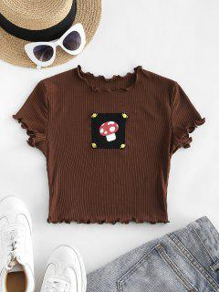 Rib-knit Lettuce Trim Mushroon Patch Baby Tee - Coffee S