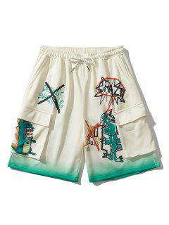 Ombre Cartoon Dinosaur Pattern Sweatshorts - Warm White L