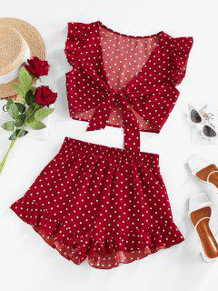 ZAFUL Polka Dot Ruffle Tied Loose Shorts Set - Red Xl