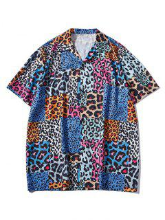 Leopard Patchwork Short Sleeve Shirt - Blueberry Blue L